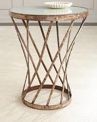 Glass Top Side Table Glass Top Brown Iron Side Table