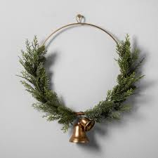 Target Wreaths Home Decor Artificial Juniper Wreath With Bell 20 Hearth And Hand
