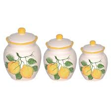 lemon design 3 piece deluxe canister set