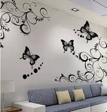 Cute Butterfly And Beautiful Flowers Wallpapers Stickers Decals - Flower designs for bedroom walls