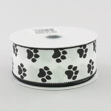 paw print ribbon 1 5 satin paw print ribbon black white 10 yards rg1776x6