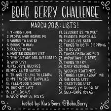 By Challenge Boho Berry Challenge March Lists Boho Berry Boho Berry