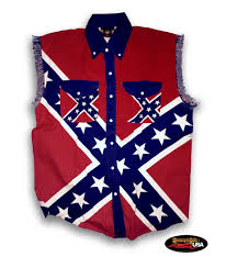 Rebel Flags Images Confederate Flag Pride All Over Cut Off Denim Shirt Motorcycle