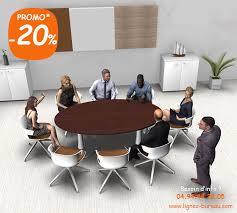 bureau com table de réunion ovale avec pied central pour 6 à 8 personnes comète