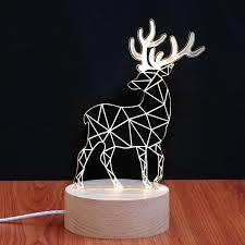 deer style 3d table lamp 2d led lamp but looks like a 3d bulb