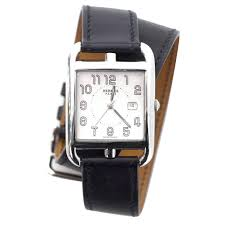 hermes black and stainless steel 29mm cape cod gm double tour
