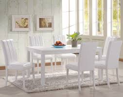 When White Leather Dining Chairs White Dining Room Table Provisionsdining Com