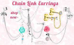earrings with chain ear cartilage helix piercings bodycandy