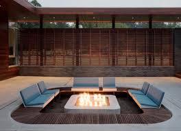 outdoor leather gray bench with wooden deck also recessed patio