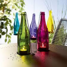 new coloured glass bottle tealight holder hanging garden lantern