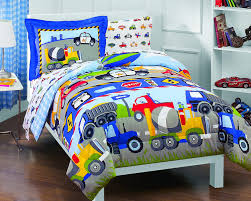 Light Blue Twin Comforter Amazon Com Dream Factory Trucks Tractors Cars Boys 5 Piece