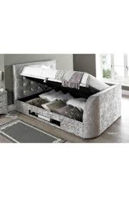 super king size barnard crushed silver fabric tv ottoman storage