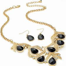 necklace with black stones images Cascading ladies gold plated leaf style diamante crystal black jpg