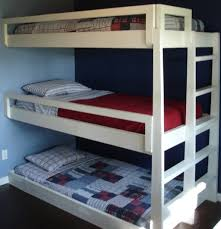 bedroom amazing space saver white finished triple bunk bed and amazing space saver white finished triple bunk bed and blue wall