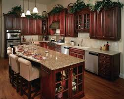brown wooden cherry kitchen cabinet with white tiles backsplash