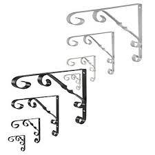 ornamental scroll metal shelf brackets in black or white scrolled