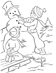 kids making cute snowman coloring pages christmas snowman