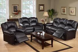 Black Leather Reclining Sofa And Loveseat Furniture Traditional Living Room Design With Black Leather
