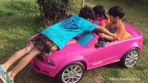 barbie power wheels kids driving barbie power wheels pink car toys outside fun time
