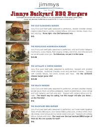 Backyard Bar And Grill Menu by Complete Menus Jimmys Taphouse