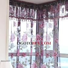 Purple Window Valances Beautiful Embossed Floral Pattern Purple Color Sheer Curtain No