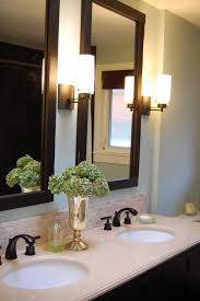 Frames For Bathroom Wall Mirrors Vertical Bathroom Wall Mirror With Black Varnished Pine Wood Frame