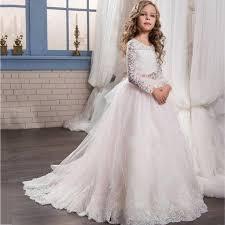 Wedding Dresses For Girls Wf808 Elegant Tulle First Communion Dress For Girls Lace Long
