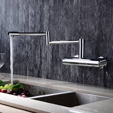 Chrome Kitchen Sink Wall Mounted Swing Arm Kitchen Sink Mixer Tap Single Handle In