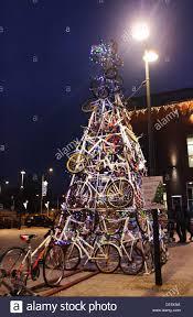 Christmas Tree Made Of Christmas Lights - tczew poland 8th december 2012 christmas tree made of bicycles