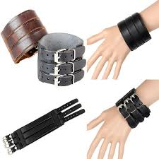 leather bracelet wristband images 2015 hot men bracelets thick double band through buckle wide jpg