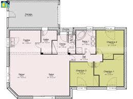 plan de maison de plain pied avec 3 chambres merveilleux plan de maison 100m2 6 maison individuelle c t a de