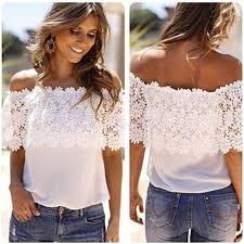 off the shoulder floral lace basic shirt clothes chiffon shirt