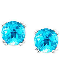 blue topaz stud earrings 14k white gold blue topaz stud earrings 4 1 2 ct t w