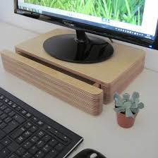 Computer Desk Hidden by Pacco Monitor Stand And Drawer Raises Your Computer Screen Closer
