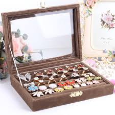 jewelry box necklace holder images Small ring jewelry box glass cover ring storage box stud earring jpg