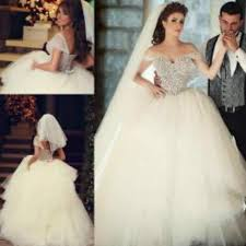 exquisite 2015 ball gown wedding dresses with pearls corset off