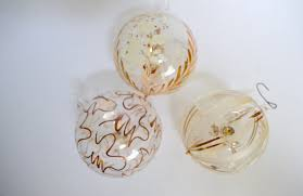 3 vintage italian handpainted delicate clear blown glass