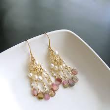 and pearl chandelier earrings afghan watermelon tourmaline slices pearls chandelier earrings