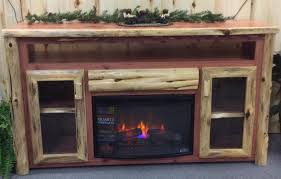 rustic log tv cabinet with electric fireplace
