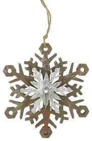 country rustic snowflake ornament brown and silver