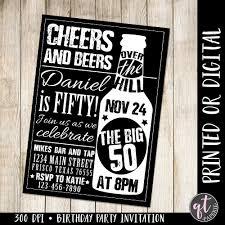 cheers and beers invitation 50th birthday invitation man
