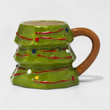 earthenware sculpted tree mini mug 8oz green brown