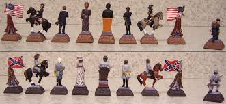 chess set pieces american history civil war new hand painted