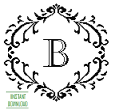 monogram letter b cross stitch pattern black monogram b initial alphabet b letter b