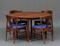 MidCentury Danish Teak Dining Table Set With Four Chairs S - Danish teak dining room table and chairs
