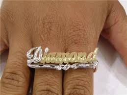name ring personalized 14k gold two finger any name ring gift v2 nikfine