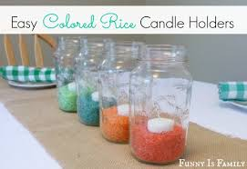 easy graduation centerpieces colored rice candleholders