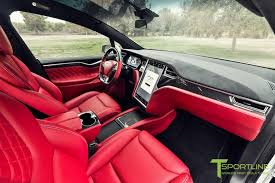 Tesla Carbon Fiber Interior This Custom Tesla Model X With Bentley Red Interior Can Be Yours