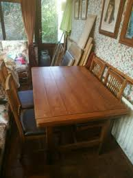 solid oak draw leaf table and 6 chairs rossmore by sherry