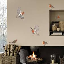 robin wall stickers in set of six decorations wall stickers cuck christmas robin vinyl wall sticker set jpg